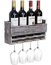 Halvalo Wine Rack Wall Mounted Wine Holder, Wine Storage Rack with Glass Holder, Wine Bottle Holder Bar Wall Wine Decor