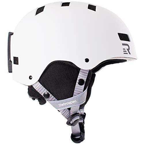 Retrospec Traverse H1 Ski & Snowboard Helmet, Convertible to Bike/Skate, Matte White, Small (51-55cm)