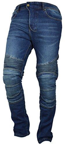 Fashio Men's Motorcycle Motorbike Jeans Trouser reinforce Aramid Protection Lining Blue K-05 W34-L30