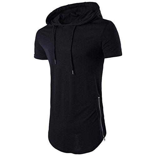 Xuanou Mens Hipster Summer Hip Hop Short Sleeve Longline Pullover Hoodied T Shirt  Medium  Black