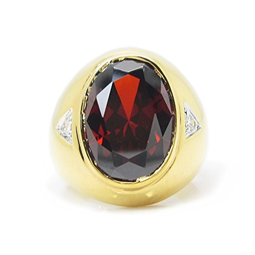 Gold Costume Jewelry Rings (Ring Men Oval 12x16 mm.Red Color CZ Gold Plating (8))