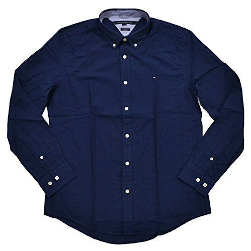 Custom Button Down Shirts (Tommy Hilfiger Mens Custom Fit Long Sleeve Buttondown Shirt (Navy, M))