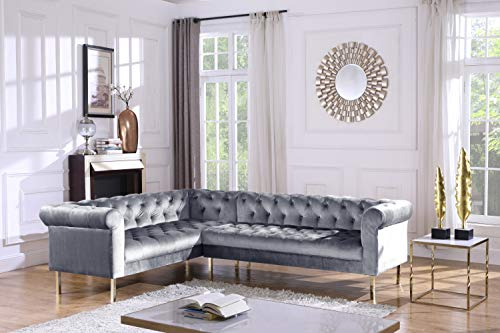 (Iconic Home FSA9209-AN Giovanni Left Facing Sectional Sofa L Shape Velvet Upholstered Button Tufted Roll Arm Design Solid Gold Tone Metal Legs Modern Transitional Navy Grey)