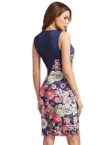 Blue Sleeveless Floral Cocktail Bodycon Dress Print Floerns Women's Split Party Red zqROtSx