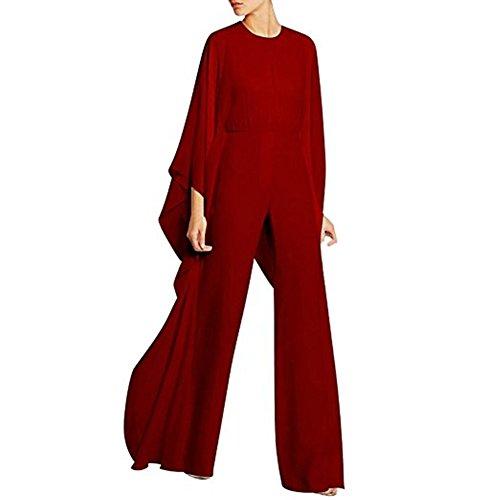 BeneGreat Women's Long Sleeves Jumpsuit Elegant Wide Leg Bat Sleeve Romper Flowy Outfit (XXL, Red)