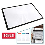 3X (300%) Page Magnifying Lens With 3 Bonus Bookmark Magnifiers for Reading Small Prints, Low Vision Aids & Solar Projects