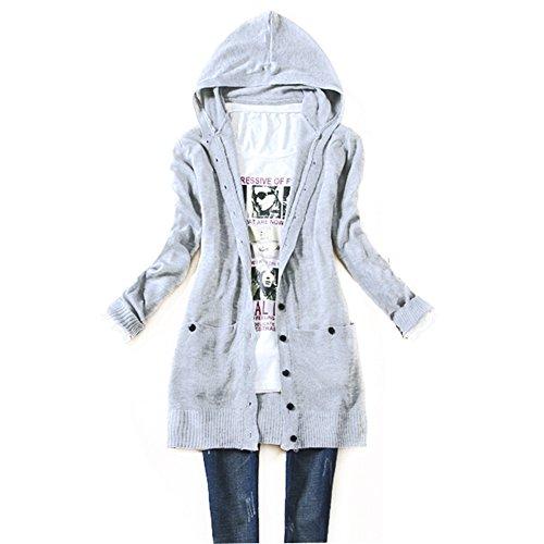 - Luxsea Women Knit Hooded Sweater Long Sleeve Knitwear Cardigan Coat Outwear Tops
