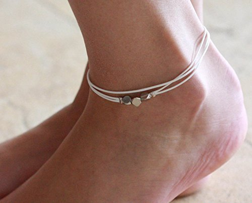 (Handmade White Anklet For Women Set With 3 Silver Plated Beads By Galis Jewelry - White Ankle Bracelet For Women - Beaded Anklet)