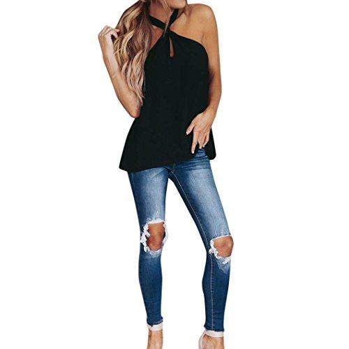 Realdo Women's Tank Tops, Women Summer Chiffon Backless Sleeveless Vest Casual Loose Blouse(Black,S)