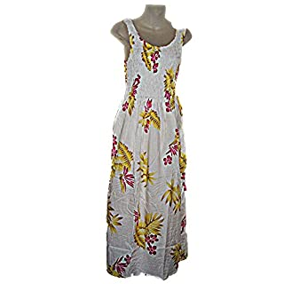 Hawaiian Pink Plumeria Floral Print Long Tank Top Summer Luau Cruise  Vacation Sundress ONE SIZE (