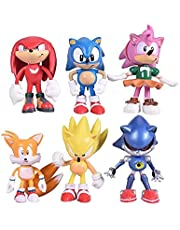 6PCS Sonic Hedgehog Cake Topper , Sonic Hedgehog Birthday Party Cake Decorations, Sonic Hedgehog Action Figure and Collectibles2-2.7inch