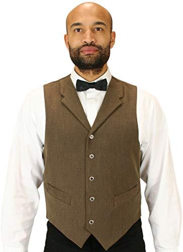 Historical Emporium Men's Woven Dress Vest L Walnut