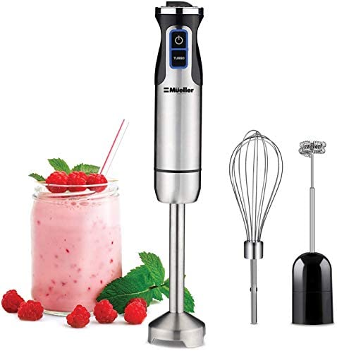 Mueller Austria Ultra-Stick 500 Watt 9-Speed Immersion Multi-Purpose Hand Blender Heavy Duty Copper Motor Brushed 304 Stainless Steel With Whisk, Milk Frother Attachments