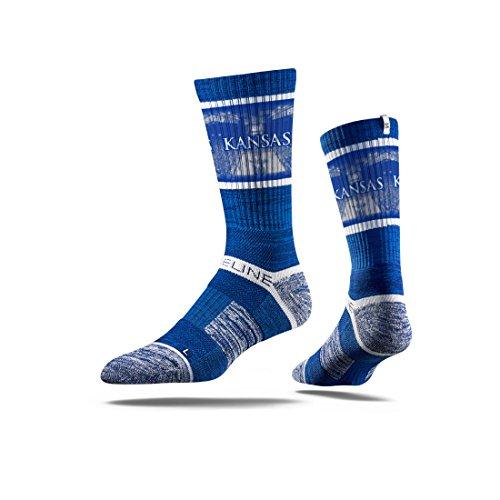 Strideline NCAA Kansas University Jayhawks Premium Athletic Crew Socks, Blue, One Size