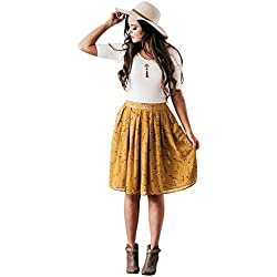 Mikarose Chiffon Modest Skirt In Mustard Yellow w/Floral Print, Knee-Length Pleated Skirt