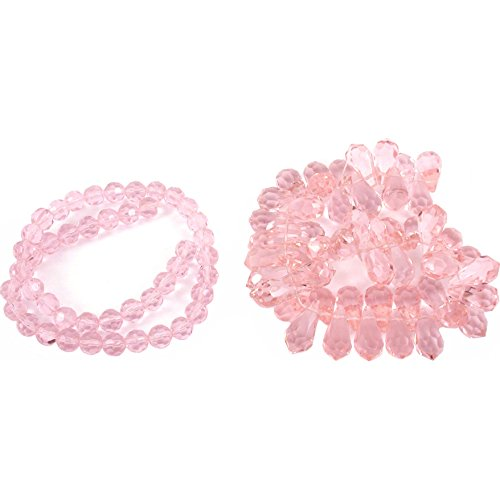 (Pink Round Teardrop FP Chinese Crystal Beads 2 Strands)