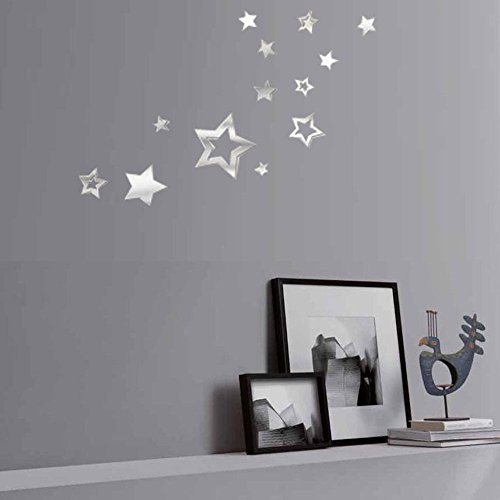 (WOCACHI Wall Stickers Decals 1PC Lovely Silver Mirror Stars Decoration Home Room Art 3D DIY Wall Stickers Art Mural Wallpaper Peel & Stick Removable Room Decoration Nursery)