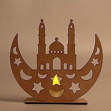 Xigeapg Ramadan en Bois Eid Mubarak D/éCoration pour La Maison Lune Islam Mosqu/éE Musulman Plaque en Bois Suspendu Pendentif Festival Partie Fournitures 4#