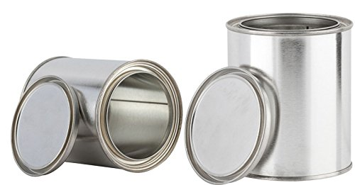 Pint Sized Empty Paint Cans with Lids (2 Pack) Empty Metal Storage Cans with tops container set Unlined - Cans Empty