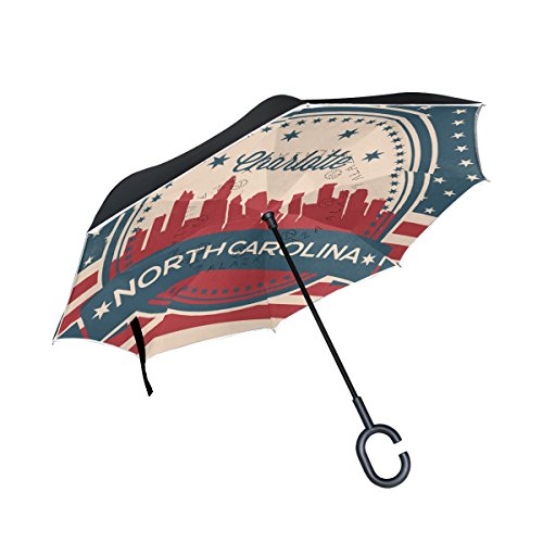 - Vintage American Flag North Carolina State Charlotte Skyline Inverted Umbrella Double Layer Windproof, Waterproof Auto Open Reverse Folding Upside Down Car Umbrellas with C Shape Handle