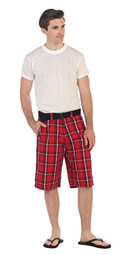 (Gioberti Mens Plaid Shorts with Belt, Red/White Striped, Size)