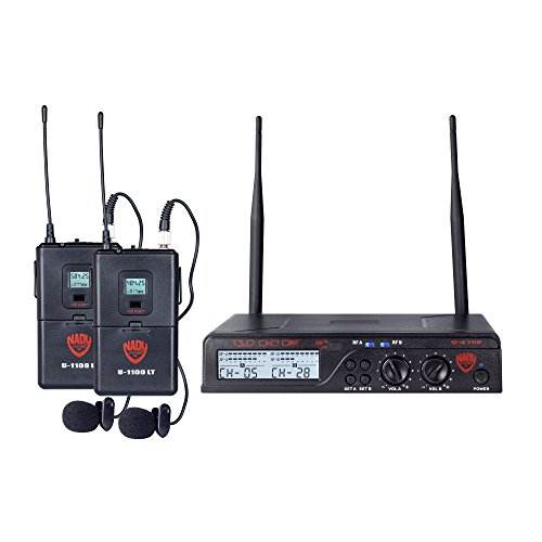 Nady U-2100 Dual LT 200-Channel UHF Wireless Lavalier Microphone (Omni Lavalier Wireless Mic System)