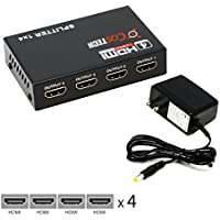 HDMI Splitter, Costech 4 Port 1x4 Full HD Ultra 1080P & 3D Support for HDTVs, monitors, displayers,Laptop Desktop (Black OT-2532)