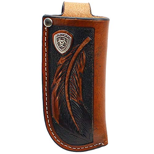 Ariat Tooled Feather with Silver Concho - Knife Sheath