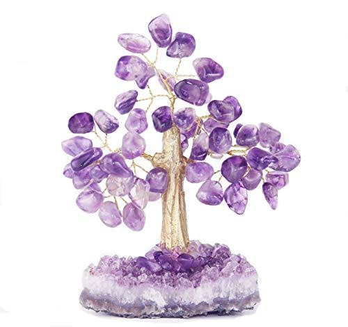 (Premium Quality Beautiful Large Amethyst, Citrine, Green Quartz or Crystal Gemstone Tree Bonsai with Purple Amethyst Druzy Base (Amethyst))