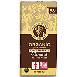 Equal Exchange Organic Chocolate Almond Bar, 55% Dark, 2.8 oz 35 Equal Exchange - Dark Chocolate Almond, 2.8 ounces SINGLE BAR