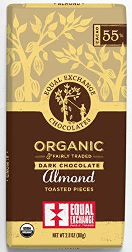 Equal Exchange Organic Chocolate Almond Bar, 55% Dark, 2.8 oz 1 Equal Exchange - Dark Chocolate Almond, 2.8 ounces SINGLE BAR
