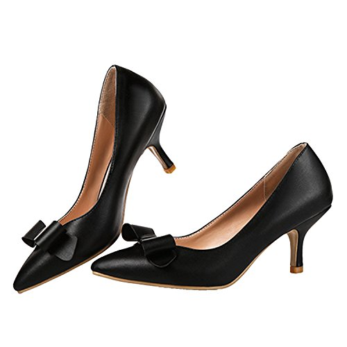 Nonbrand Women's Kitten Heel Synthetic Court Shoes Black PTjqn5G4