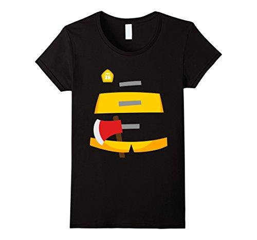 Womens Fireman Halloween Costume T-Shirt Firefighter Tee XL (Woman Fireman Halloween Costume)