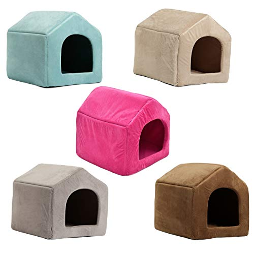HHF-Pets Supplies Dome Bed for Pet Dog Cat Kitten Cave Cubby Cozy Baskets House (Color : Beige, Size : L) -
