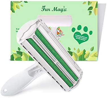 Fur Magic Reusable Pet Hair Remover Roller for Dog, Cat and Other Pet Hair with Improved Handle, Easy to Clean Lint Remover for Furniture, Sofa, Carpet and Bedding, Green