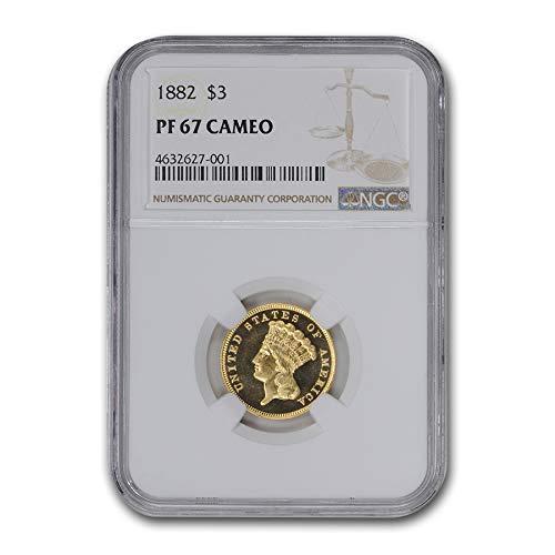 1882 $3 Gold Princess PF-67 Cameo NGC $3 PF-67 NGC
