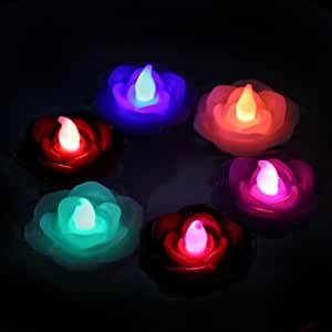 Color Changing LED Floating Wax Flowers; Set of 3