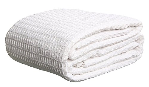 Bella Linens Bed (Bella Kline - Premium 100% Soft Cotton Thermal Blanket - Snuggle in these Super Soft Cozy Cotton Blankets - Waffle Design - King White)