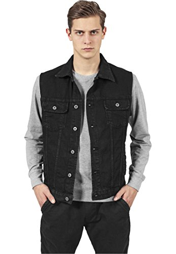 Urban Classics Men's Denim Vest Gilet Medium Black