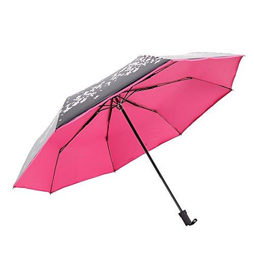 Extsud® automatischer faltbar Regenschirm Sonnenschirm, 50+ UV-Schutz Taschenschirm Reiseschirm mit Blumen-Druck, perfekt für den Muttertag Geschenk / Reisen (rosarot)