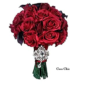 Wedding Bouquet with Red Roses with Burgandy Calla and1 Mans Boutonnniere 111