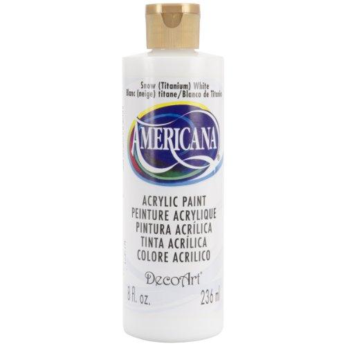 DecoArt DA01-9 Americana Acrylics, 8-Ounce, Snow, Titanium White