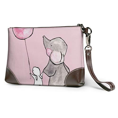 Cute Elephant Rabbit Women's Leather Wristlet Clutch Zipper Wallet Case Cellphone Purse Handbag