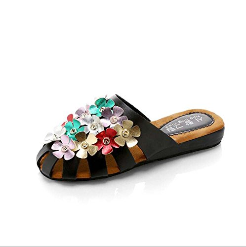 Women's Black Summer Color Wild Holiday Beach shoes Female Slipper Sandals Shoes Flowers MHX The Of Korean Version 4qIdadPnwx