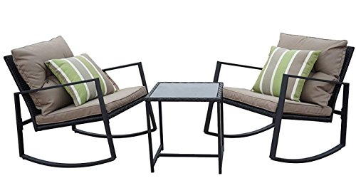 Cheap Kozyard Moana Outdoor 3-Piece Rocking Wicker Bistro Set, Two Chairs and One Glass Coffee Table, Black Wicker Furniture(Taupe Cushion+Lime Stripe Pillow)