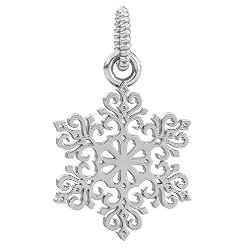 Authentic BELLA FASCINI Winter Snowflake Dangle Bead Charm - 925 Silver - Fits European Style Bracelet - Mouse Sleigh