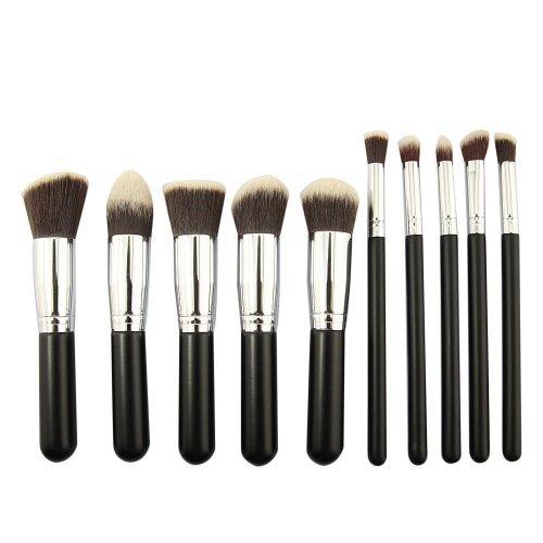 Professional Women Makeup Cosmetic Brush Set Blending Shadow Powder Foundation Eyeshadow Blush Brushes (10pcs Silver)