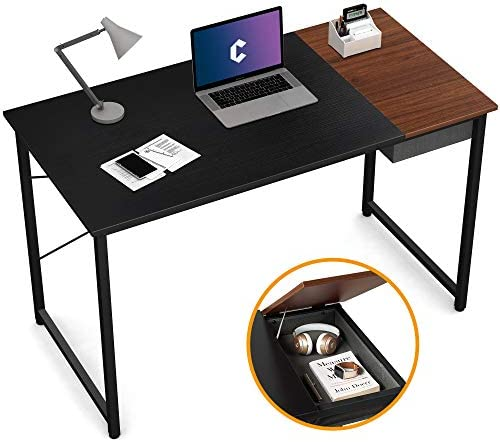 Cubiker Computer Desk 47 Home Office Writing Study Laptop Table, Modern Simple Style Desk with Drawer, Black Espresso
