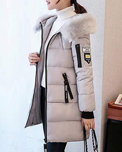 Grand Veste Down Manteaux Fourrure Quge Long De Veste Vestes Woman Avec Col Gris Manteau wqSIEzf