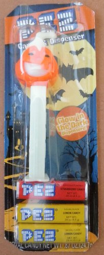 Halloween Glow-in-the-Dark Jack-O-Lantern PEZ Dispenser with 3 Candy -